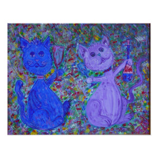 Large Print -spirited cats painting by RLW
