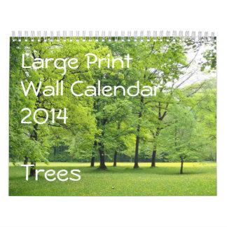 Large Print Wall Calendar 2014 - Trees