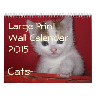 Large Print Wall Calendar 2015 - Cats