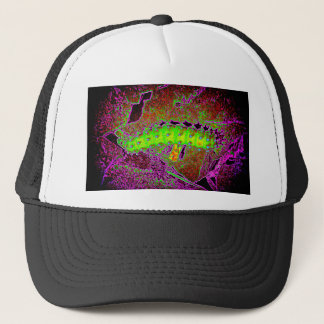 Large psychedelic caterpillar in vibrant colors trucker hat