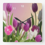 Large Purple and White Tulips Wall Clock