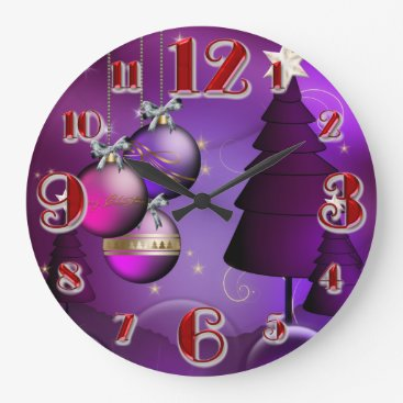 Christmas Themed Large Purple Christmas Bauble Tree Large Clock