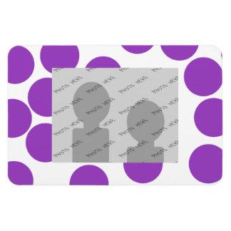 Large Purple Dots on White. Custom Magnet