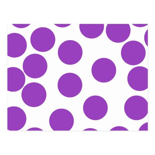 Large Purple Dots on White. Custom Postcard