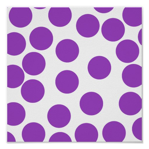 Large Purple Dots on White. Custom Poster