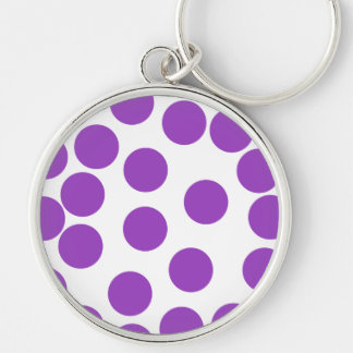 Large Purple Dots on White. Keychain