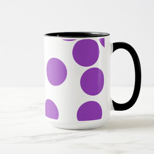 Large Purple Dots on White. Mug
