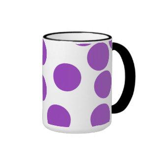 Large Purple Dots on White. Mugs