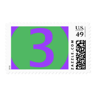 Large Purple on Green Three Year Old Postage Stamp