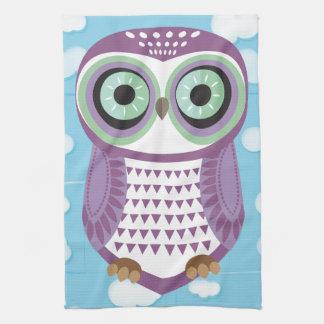 Large Purple Owl Cloud Kitchen Towel