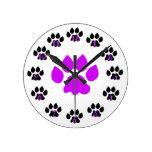 Large Purple Paw Clock