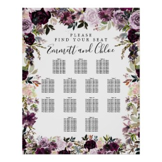 Large Purple Pink Floral 13-Table Seating Chart