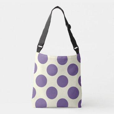 Beach Themed Large purple polka dots circles design on cream crossbody bag