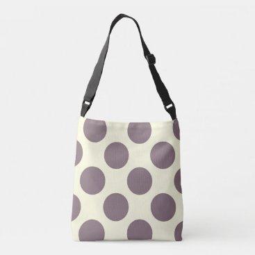 Beach Themed Large purple polka dots design on cream crossbody bag