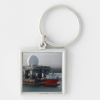 Large Radar Ship Silver-Colored Square Keychain
