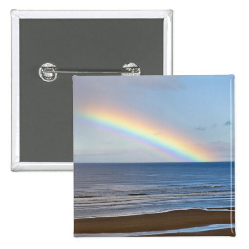 Large rainbow over the Pacific Ocean at Pinback Button