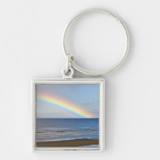 Large rainbow over the Pacific Ocean at Silver-Colored Square Keychain