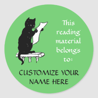 Large Reading Cat Bookplate Sticker in Light Green