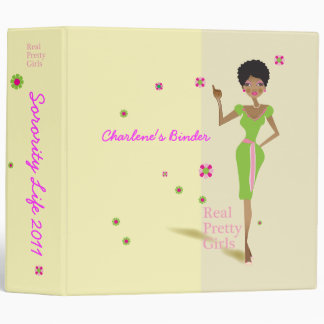 Large Real Pretty Pink and Green Binder