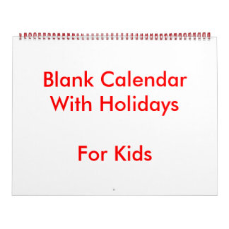 Large Red Blank Calendar For Kids Holidays