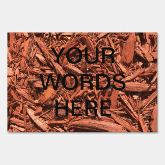 Large red cedar mulch pattern landscape contractor lawn sign