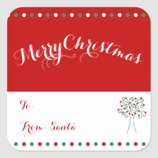 Large Red Custom Square Christmas Tree Gift Tags Square Sticker