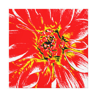 Large Red Dahlia Gallery Wrap Canvas
