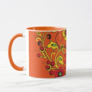 Large Red Flower Hohloma Mug