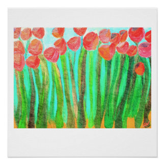 Large red flowers - 20 x 20 glossy print poster