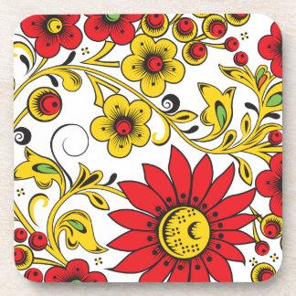 Large Red Flowers Beverage Coaster