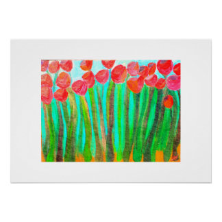 large red flowers poster