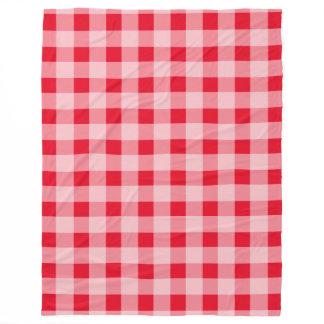 Large red gingham pattern fleece picnic blankets