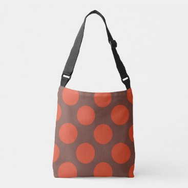 Beach Themed Large red polka dots design on brown crossbody bag