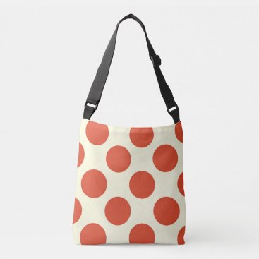 Beach Themed Large red polka dots design on cream crossbody bag