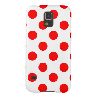 Large Red Polka Dots on White Galaxy S5 Case