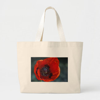 Large red poppy tote bags