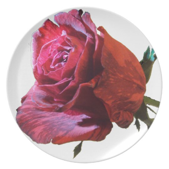 large red rose plate