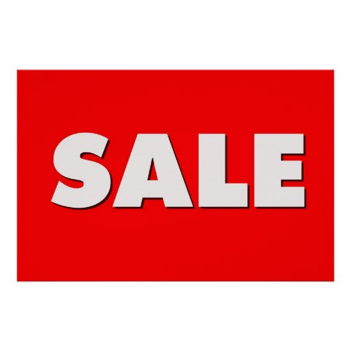 Large Red Sale Sign Poster