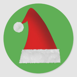 Large Red Santa Christmas Hat Classic Round Sticker