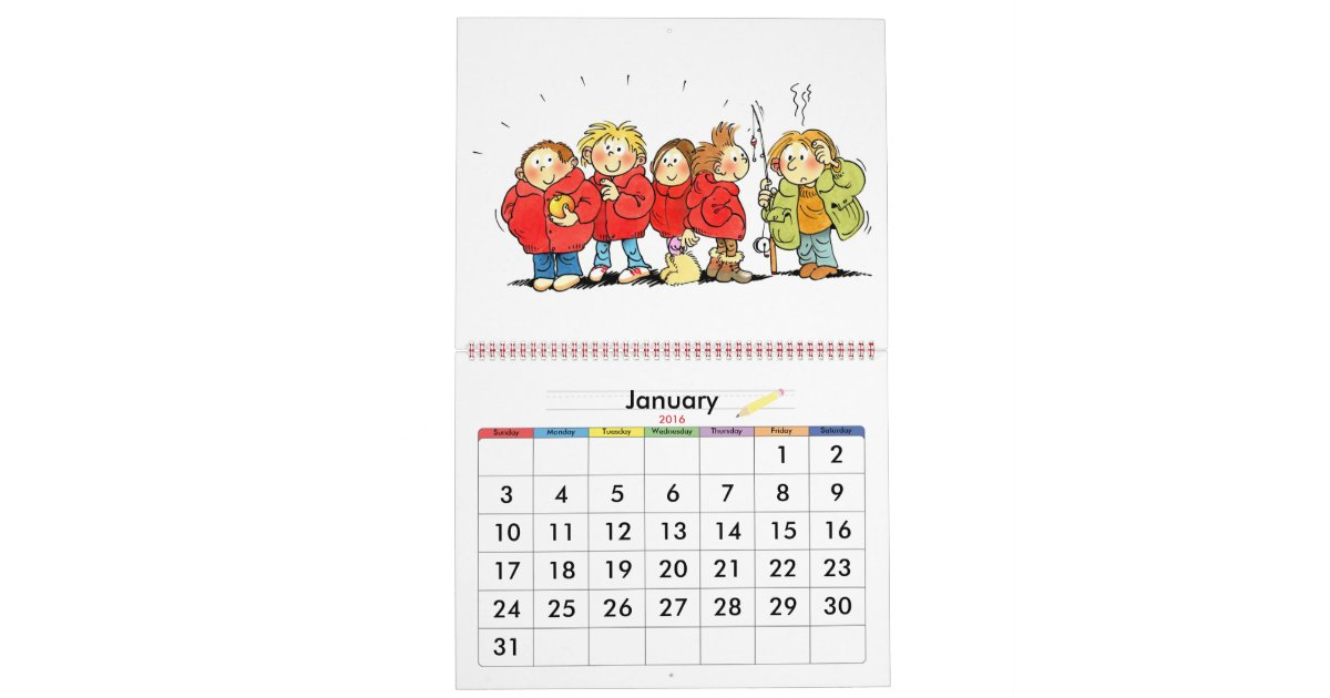 Year Calendar For Kids : Large red school year calendar for kids zazzle