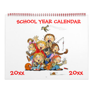 Large Red School Year Calendar For Kids