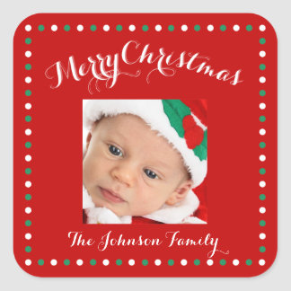 Large Red Square Photo Christmas Stickers