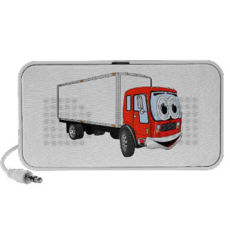 Large Red White Delivery Truck Cartoon Travel Speakers