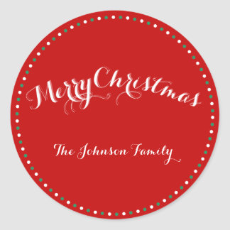 Large Red White Green Custom Christmas Stickers