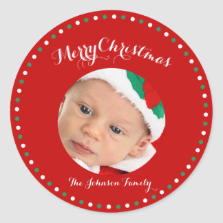 Large Red White Green Photo Christmas Stickers