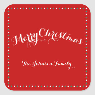 Large Red White Green Square Christmas Stickers