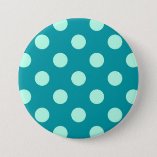 Large retro dots - aqua and turquoise pinback button