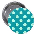 Large retro dots - aqua and turquoise pinback button
