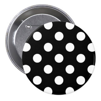 Large retro dots - black and white 3 inch round button