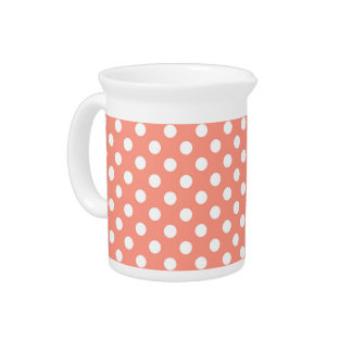 Large retro dots - coral pink and white beverage pitcher